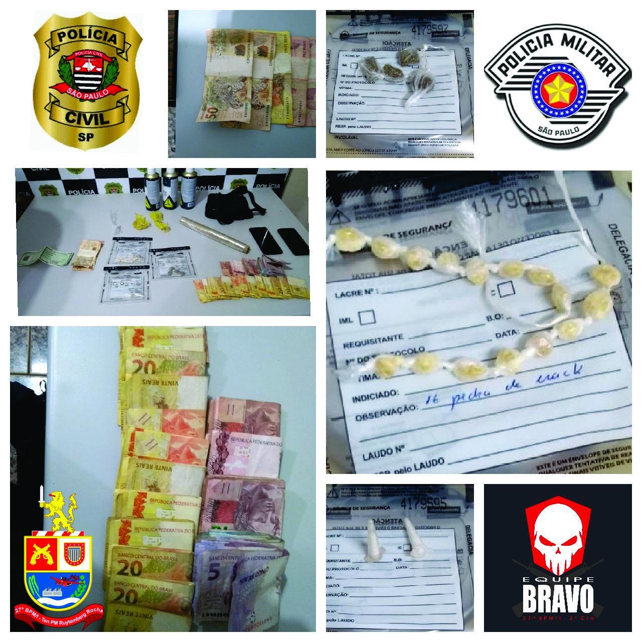 Operação Conjunta entre Polícia Militar e Polícia Civil, prende dois por tráfico e associação ao tráfico em Igaraçu do Tietê.