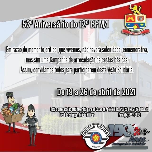 12 BPM/I – Botucatu comemora seus 53 anos com ação solidária.
